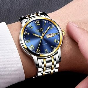 Mens Steel Analog Wrist Watch Luxury Adjustable